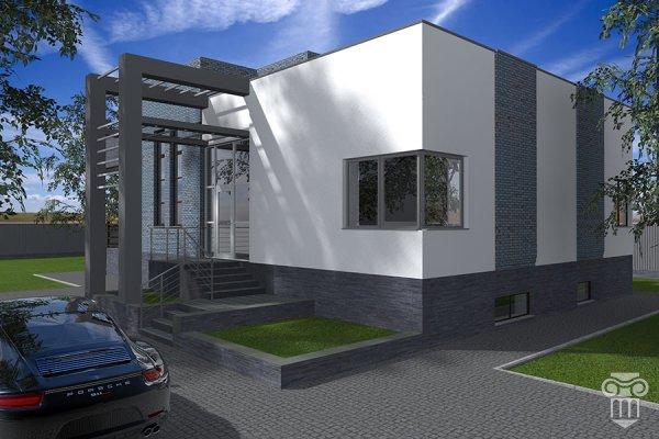 Проект жилого дома с плоской крышей