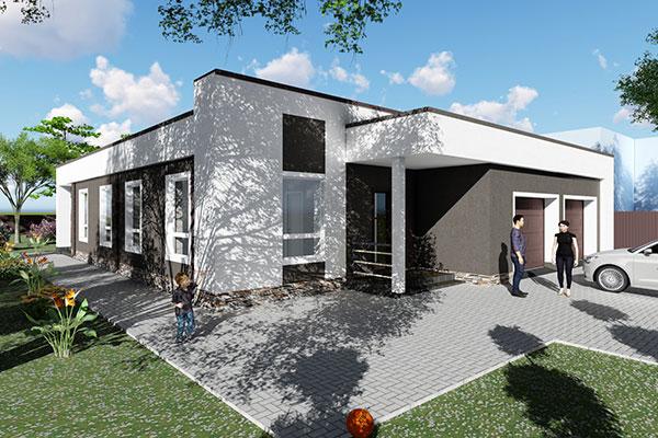 Проект одноэтажного жилого дома в современном стиле