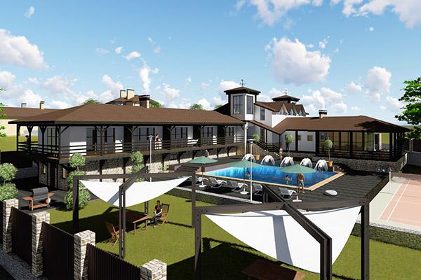 Проект базы отдыха с открытым бассейном