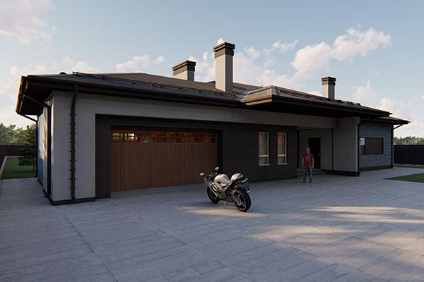 Проект жилого дома с гаражом в современном стиле