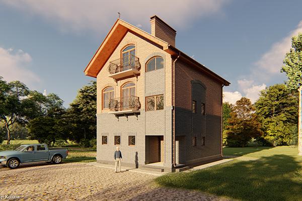 Трехэтажный индивидуальный жилой дом