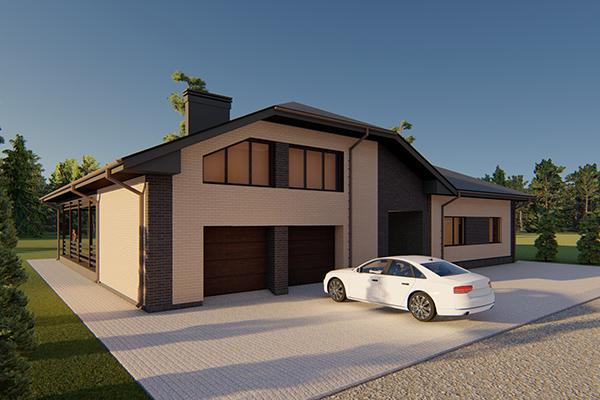 Одноэтажный жилой дом с гаражом на две машины.