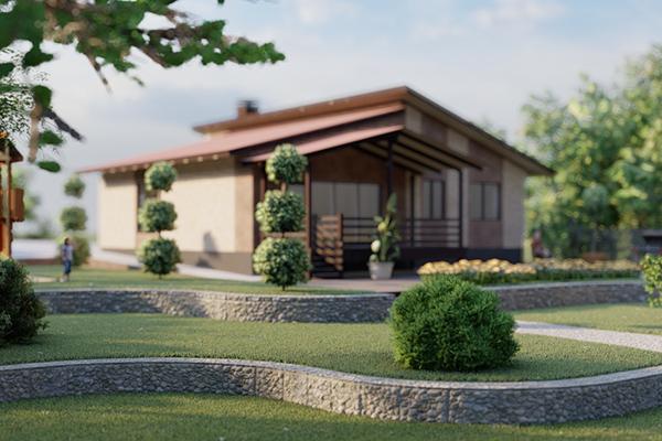Проект одноэтажного жилого дома с террасой