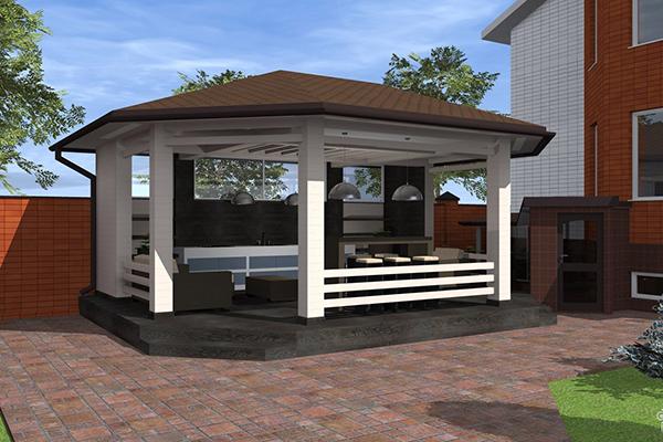 Летняя кухня во дворе жилого дома