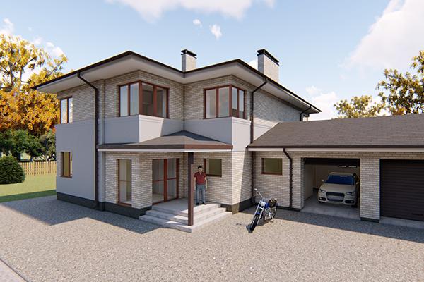 Блокированные двухэтажные жилые дома с гаражом